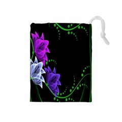 Neon Flowers Floral Rose Light Green Purple White Pink Sexy Drawstring Pouches (Medium)