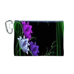 Neon Flowers Floral Rose Light Green Purple White Pink Sexy Canvas Cosmetic Bag (M)