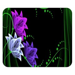Neon Flowers Floral Rose Light Green Purple White Pink Sexy Double Sided Flano Blanket (Small)
