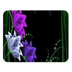 Neon Flowers Floral Rose Light Green Purple White Pink Sexy Double Sided Flano Blanket (Large)
