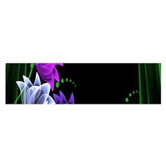Neon Flowers Floral Rose Light Green Purple White Pink Sexy Satin Scarf (Oblong)