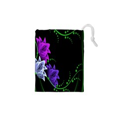 Neon Flowers Floral Rose Light Green Purple White Pink Sexy Drawstring Pouches (XS)
