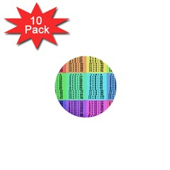 Multiplication Printable Table Color Rainbow 1  Mini Buttons (10 pack)