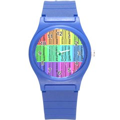 Multiplication Printable Table Color Rainbow Round Plastic Sport Watch (S)