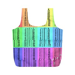 Multiplication Printable Table Color Rainbow Full Print Recycle Bags (M)
