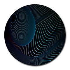 Line Light Blue Green Purple Circle Hole Wave Waves Round Mousepads