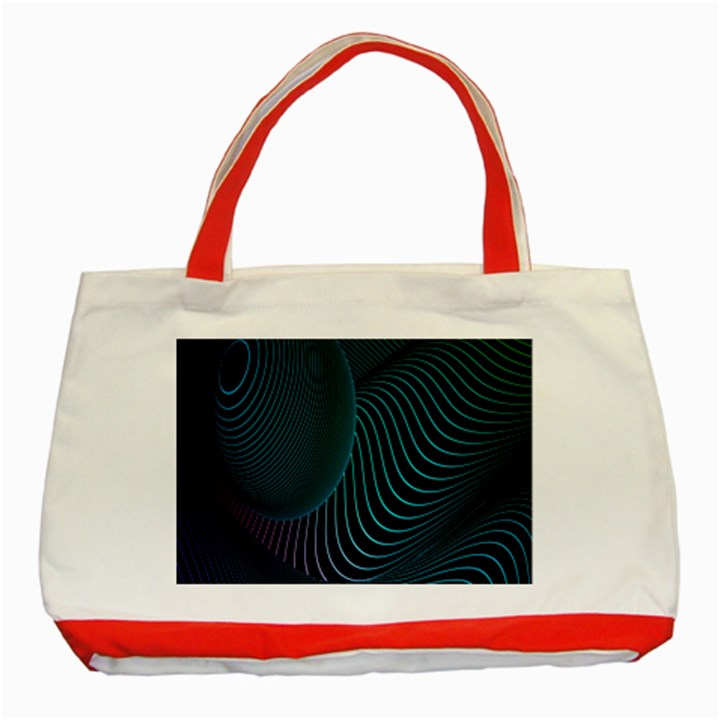 Line Light Blue Green Purple Circle Hole Wave Waves Classic Tote Bag (Red)