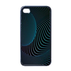 Line Light Blue Green Purple Circle Hole Wave Waves Apple iPhone 4 Case (Black)