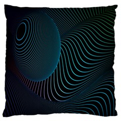 Line Light Blue Green Purple Circle Hole Wave Waves Large Flano Cushion Case (Two Sides)