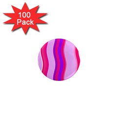 Pink Wave Purple Line Light 1  Mini Magnets (100 pack)