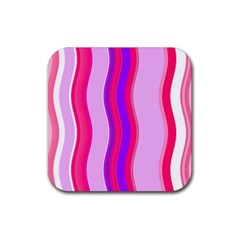 Pink Wave Purple Line Light Rubber Square Coaster (4 Pack)