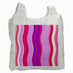 Pink Wave Purple Line Light Recycle Bag (One Side)