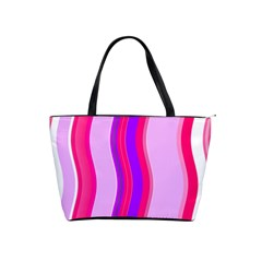 Pink Wave Purple Line Light Shoulder Handbags