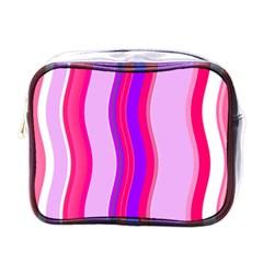 Pink Wave Purple Line Light Mini Toiletries Bags