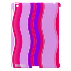 Pink Wave Purple Line Light Apple iPad 3/4 Hardshell Case (Compatible with Smart Cover)