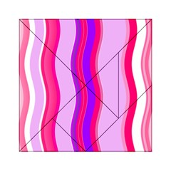 Pink Wave Purple Line Light Acrylic Tangram Puzzle (6  x 6 )