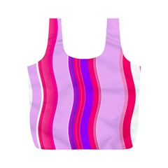 Pink Wave Purple Line Light Full Print Recycle Bags (M)