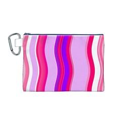 Pink Wave Purple Line Light Canvas Cosmetic Bag (M)