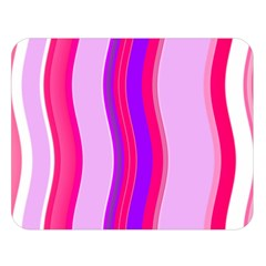 Pink Wave Purple Line Light Double Sided Flano Blanket (large)