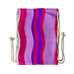 Pink Wave Purple Line Light Drawstring Bag (Small)