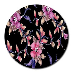 Neon Flowers Rose Sunflower Pink Purple Black Round Mousepads