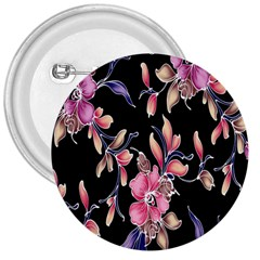 Neon Flowers Rose Sunflower Pink Purple Black 3  Buttons