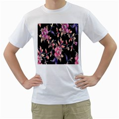 Neon Flowers Rose Sunflower Pink Purple Black Men s T-Shirt (White) (Two Sided)