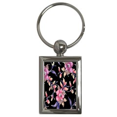 Neon Flowers Rose Sunflower Pink Purple Black Key Chains (Rectangle)