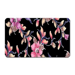 Neon Flowers Rose Sunflower Pink Purple Black Magnet (Rectangular)