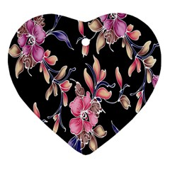 Neon Flowers Rose Sunflower Pink Purple Black Heart Ornament (Two Sides)