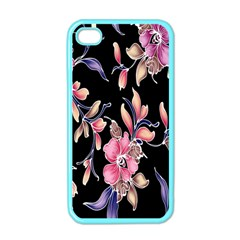 Neon Flowers Rose Sunflower Pink Purple Black Apple iPhone 4 Case (Color)