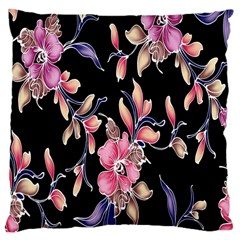 Neon Flowers Rose Sunflower Pink Purple Black Large Cushion Case (two Sides)