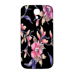 Neon Flowers Rose Sunflower Pink Purple Black Samsung Galaxy S4 I9500/I9505  Hardshell Back Case