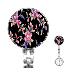 Neon Flowers Rose Sunflower Pink Purple Black Stainless Steel Nurses Watch