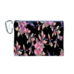 Neon Flowers Rose Sunflower Pink Purple Black Canvas Cosmetic Bag (M)