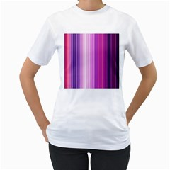 Pink Vertical Color Rainbow Purple Red Pink Line Women s T-Shirt (White) (Two Sided)