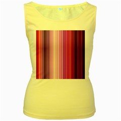 Pink Vertical Color Rainbow Purple Red Pink Line Women s Yellow Tank Top