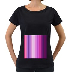 Pink Vertical Color Rainbow Purple Red Pink Line Women s Loose-Fit T-Shirt (Black)