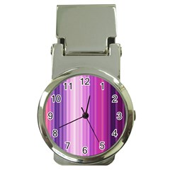 Pink Vertical Color Rainbow Purple Red Pink Line Money Clip Watches
