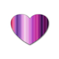 Pink Vertical Color Rainbow Purple Red Pink Line Rubber Coaster (Heart)