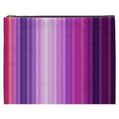 Pink Vertical Color Rainbow Purple Red Pink Line Cosmetic Bag (XXXL)