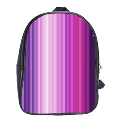 Pink Vertical Color Rainbow Purple Red Pink Line School Bags (XL)