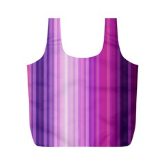 Pink Vertical Color Rainbow Purple Red Pink Line Full Print Recycle Bags (M)