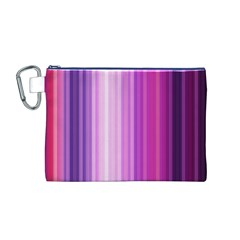 Pink Vertical Color Rainbow Purple Red Pink Line Canvas Cosmetic Bag (M)