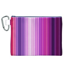 Pink Vertical Color Rainbow Purple Red Pink Line Canvas Cosmetic Bag (XL)