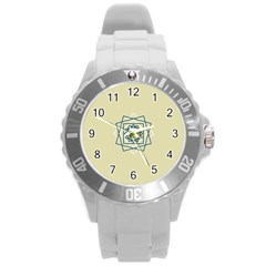 Shape Experimen Geometric Star Plaid Sign Round Plastic Sport Watch (L)