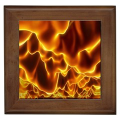 Sea Fire Orange Yellow Gold Wave Waves Framed Tiles