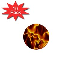 Sea Fire Orange Yellow Gold Wave Waves 1  Mini Magnet (10 pack)
