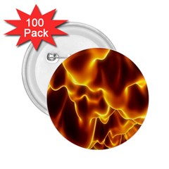 Sea Fire Orange Yellow Gold Wave Waves 2.25  Buttons (100 pack)