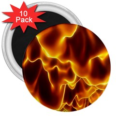 Sea Fire Orange Yellow Gold Wave Waves 3  Magnets (10 Pack)